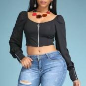Lovely Trendy Zipper Design Black Blouse
