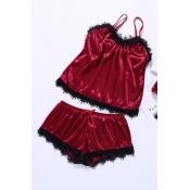 Lovely Stylish Lace Hem Wine Red Sleepwear
