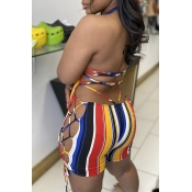 Lovely Sexy Striped Multicolor One-piece Romper