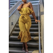 Lovely Stylish Striped Yellow One-piece Jumpsuit