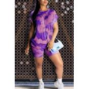 Lovely Casual Tie-dye Purple Two-piece Shorts Set