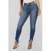 Lovely Stylish Buttons Design Blue Jeans