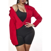 Lovely Stylish Buttons Design Red Jacket