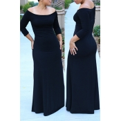 Lovely Bohemian Dew Shoulder Black Maxi Dress