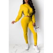 Lovely Sportswear Basic Skinny Yellow Two-piece Pa