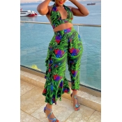 Lovely Print Multicolor Cover-Up(Two-piece)