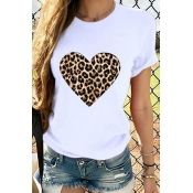 Lovely Casual Heart Print White T-shirt