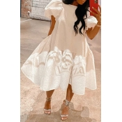 Lovely Trendy Fold Design White Mid Calf Dress
