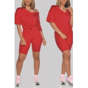 Lovely Leisure Basic Red Two-piece Shorts Set