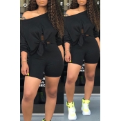 Lovely Leisure Basic Black Two-piece Shorts Set
