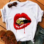 Lovely Leisure O Neck Lip Print Red Plus Size T-shirt