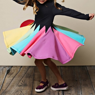 Lovely Sweet Color-lump Patchwork Black Girl Knee Length Dress