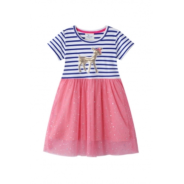 Lovely Chic Patchwork Pink Girl  Mini Dress