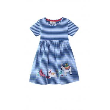 Lovely Sweet Striped Blue Girl Mini Dress