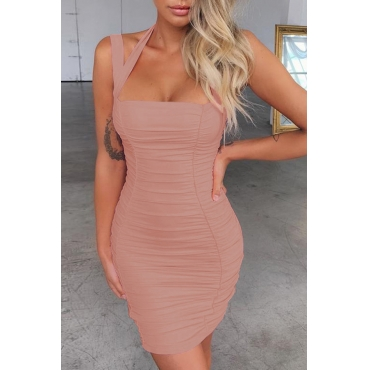 Lovely Trendy Fold Design Dusty Pink Mini Dress