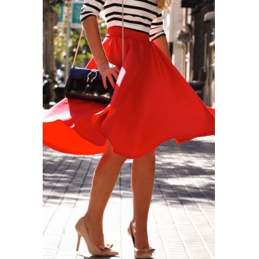 Lovely Casual  Loose Red Skirt