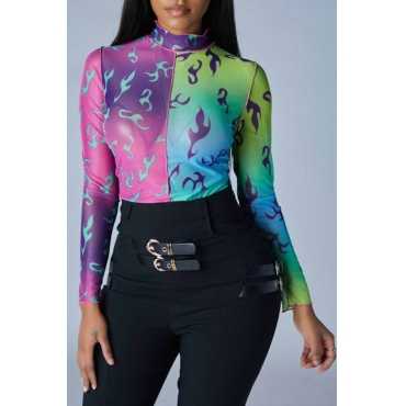 Lovely Casual Print Multicolor Bodysuit
