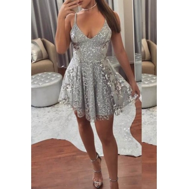 Lovely Sexy V Neck Grey Prom Dress