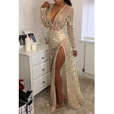 Lovely Party V Neck Slit Gold Prom Dress
