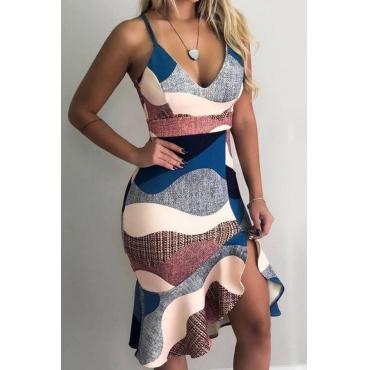 Lovely Sweet V Neck Flounce Multicolor Knee Length Dress