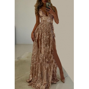 Lovely Party Slit Apricot Prom Dress