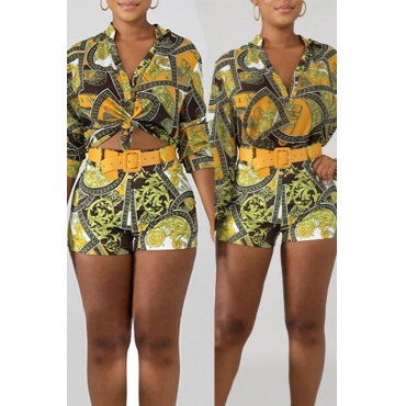 Lovely Casual Print Golden Yellow Two-piece Shorts Set