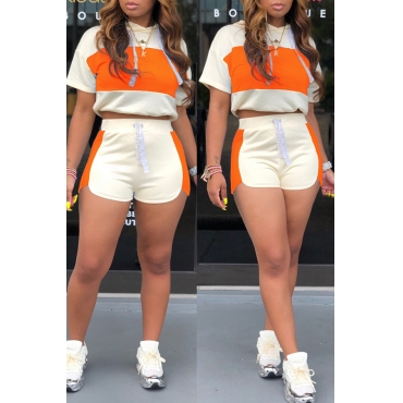 Lovely Chic Patchwork Orange Two-piece Shorts Set