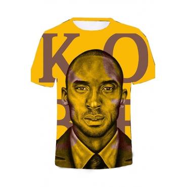 Lovely Trendy O Neck Print Yellow T-shirt