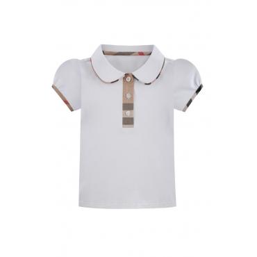 Lovely Chic Buttons Design White Girl T-shirt
