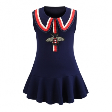 Lovely Chic Patchwork Dark Blue Girl Knee Length Dress