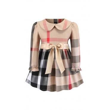 Lovely Sweet Grid Print Apricot Girl Knee Length Dress