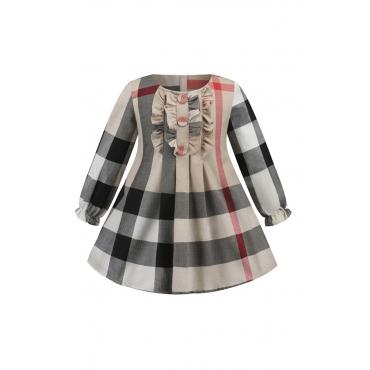 Lovely Chic Buttons Design Apricot Girl Knee Length Dress
