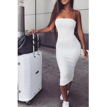 Lovely Trendy Dew Shoulder White Ankle Length Dress