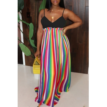 Lovely Casual Striped Print Multicolor Maxi Dress