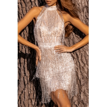 Lovely Stylish Tassel Design White Mini Dress