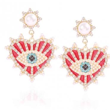 Lovely Trendy Rhinestone Decorative Red Earring