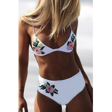 Lovely Embroidered Design White Bathing Suit Two-piece Swimsuit