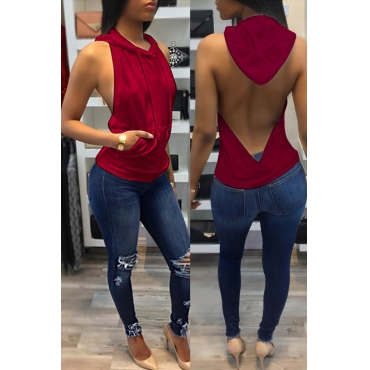 Lovely Casual Backless Wine Red Camisole