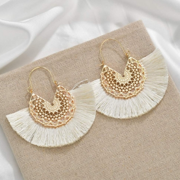 Lovely Bohemian Tassel Design Beige Earring
