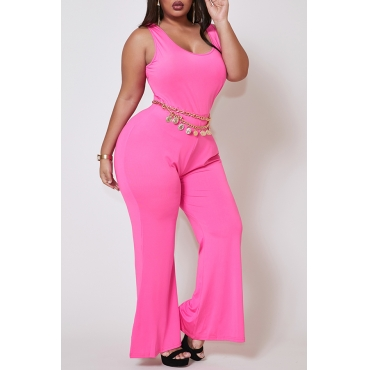 Lovely Casual Basic Skinny Rose Red Plus Size One-piece Jumpsuit
