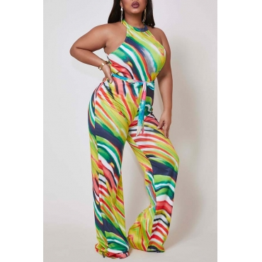 Lovely Casual Print Green Plus Size One-piece Jumpsuit
