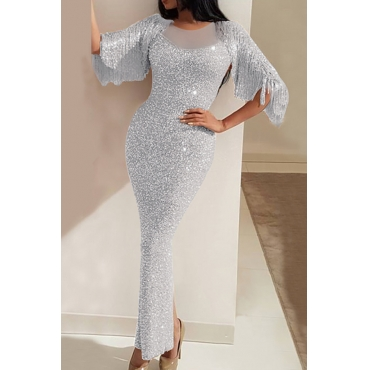 Lovely Stylish Tassel Design Silver Maxi Dress