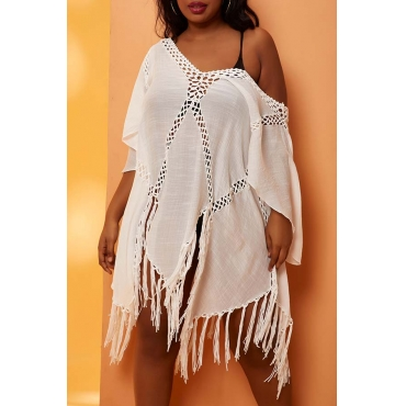 Lovely See-through White Plus Size Cover-up