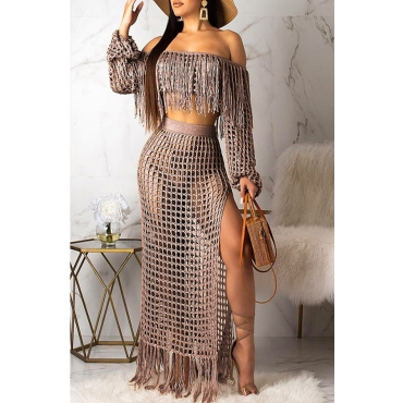 Lovely Tassel Design Coffee Plus Size Cover-up