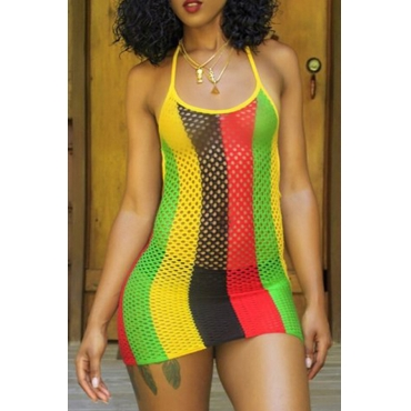 Lovely Polyester Striped Halter CoverUps