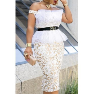 Lovely Stylish Lace White Knee Length Dress