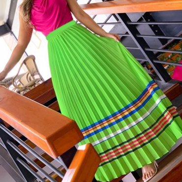Lovely Casual Print Green Skirt