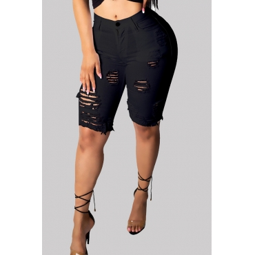 Lovely Chic Hollow-out Black Shorts