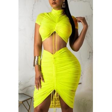 Lovely Trendy Fold Design Yellow Two-piece Skirt Set