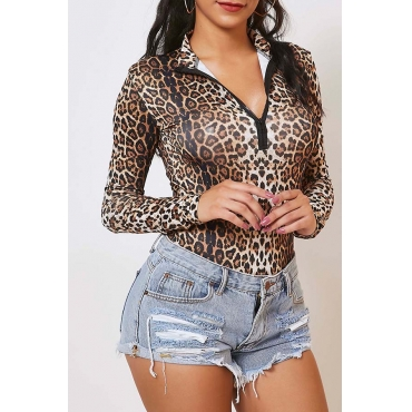 Lovely Trendy Leopard Print Bodysuit